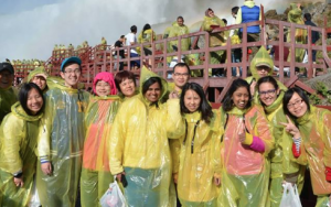 IFI students in rain ponchos at Niagara Falls
