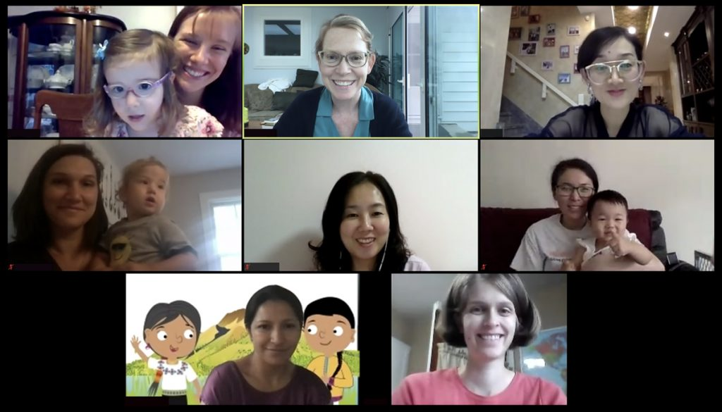 IFI volunteers and international moms meet online during COVID
